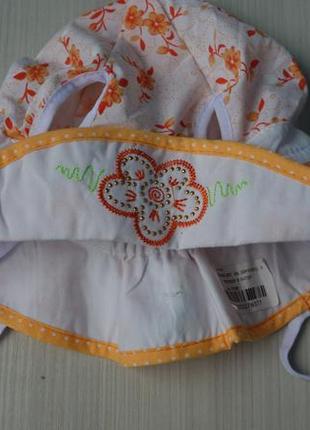Хлопковая детская панамка шапка с цветочками стразами с прорез...