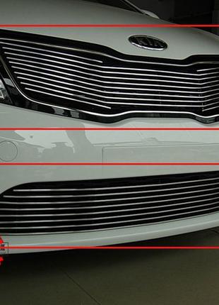 Решетка радиатора Kia RIO 2011-2015 (накладка, из двух частей)
