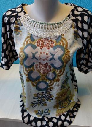 Стильная фирменная женская блузка вышитая бисером
