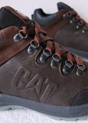 Зимние 2019 Кожаные мужские ботинки Caterpillar! Кроссовки коричн