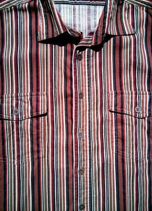 Вельветовая рубашка в разноцветную полоску с длинным рукавом k...