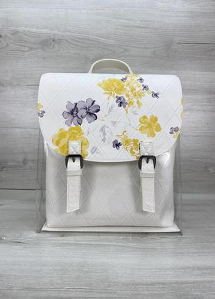 Силиконовый рюкзак с цветами с белой косметичкой