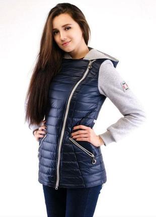 Женская весенняя куртка с трикотажными рукавами