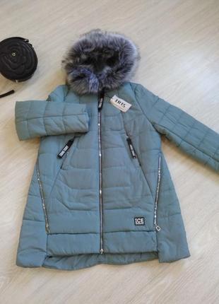 Женская зимняя удлиненная куртка 54 р