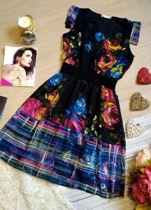Шикарное  шифоновое платье в принт цветы размер 10-12 (40-42) ...