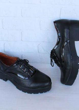 Кожаные туфли на шнурках, оксфорды, дерби, броги 38 размера