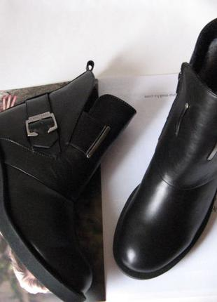 Diesel! Зима! Женские удобные ботинки кожаные черные сапоги в сти
