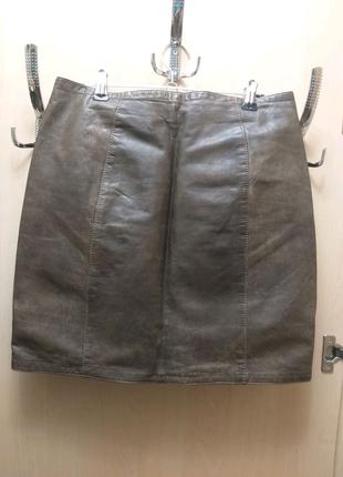 Кожано-джинсовая юбка