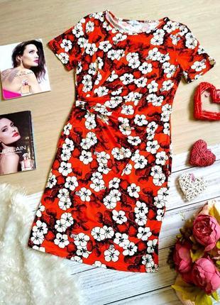 Красивое вискозное платье в цветы миди размер 38-42 (10-12)