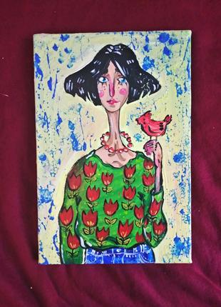 Картина акрилом холст интерьер девушка с птичкой авторская работа
