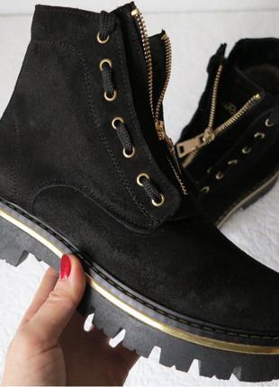 Balmain лезвие зима! Женские в стиле Бальман черные сапоги ботинк