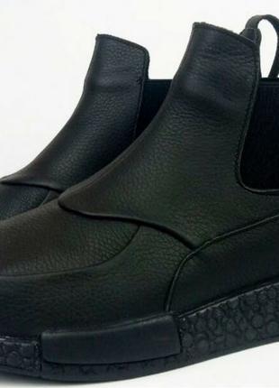 Демисезонные женские ботинки Gross кожа нубук мех Гросс челси уни