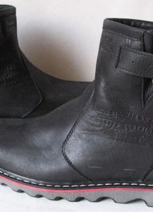 Levis! Зимние черные кожаные в стиле Levi's Угги! Левис ботинки с