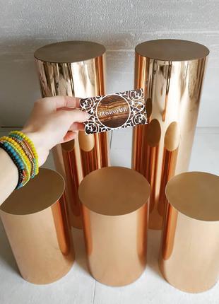 Золоті дзеркальні тубуси колони стійки тумби стол срібні фотозона