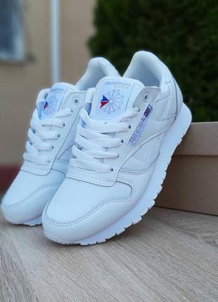 Прекрасные женские кроссовки reebok classic белые с перфорацией