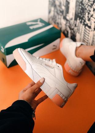 Puma cali white / pink женские стильные кроссовки