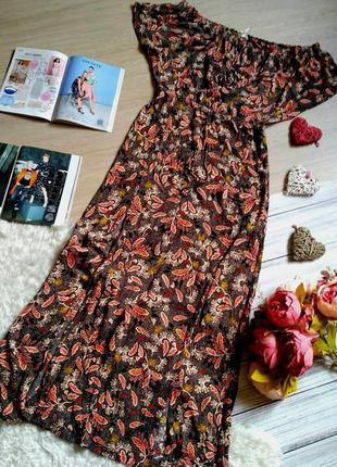 Красивое длинное вискозное платье с принтом размер 10-12(38-42)