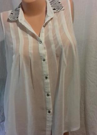 Прозрачная белая  блузка