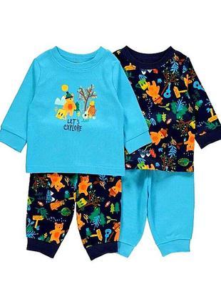 Прикольные пижамки 2 шт. от george из англии на 18-24, 2-3 года