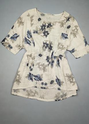 Блуза натуральная в цветочный принт италия р.м-л