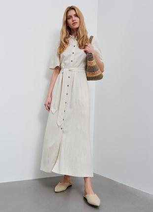 Натуральное макси платье рубашка reserved 16--50-52 размер.