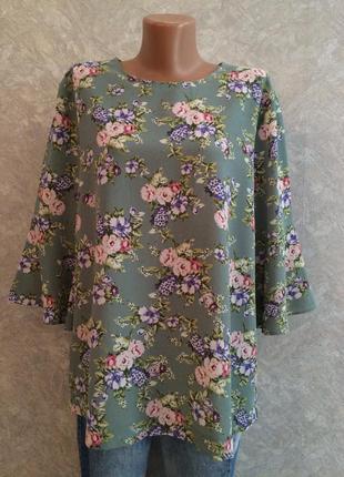 Блуза в цветы с воланами на рукавах размер 16 -18 peacocks