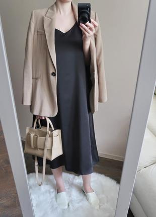 Платье-комбинация / новое платье миди в бельевом стиле / черно...