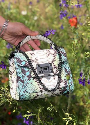 Женская кожаная сумочка с принтом рептилии италия