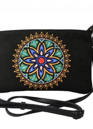 Жіноча шкіряна сумка з вишивкою