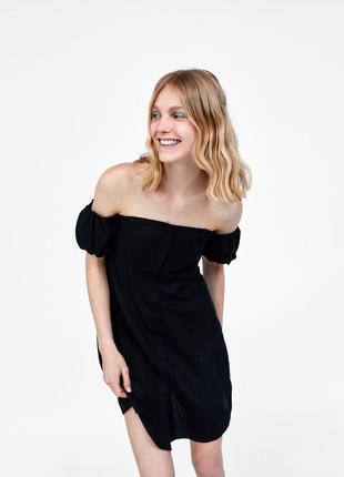 Черное платье из льна и вискозы от zara
