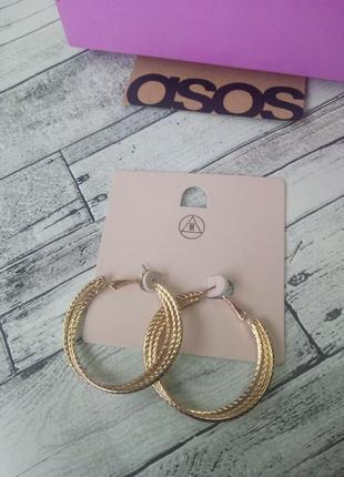 Стильные золотые серьги кольца missguided