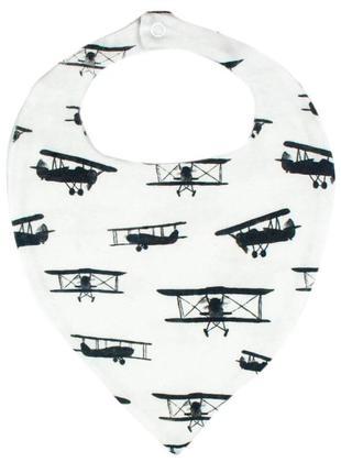 Слюнявчик белый самолеты