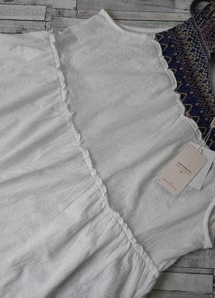 Стильная белая блуза майка разлетайка с вишивкой