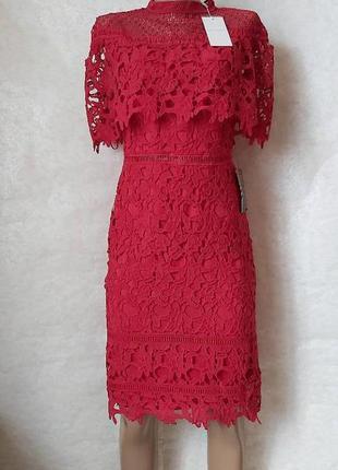 Новое с биркой нереальной красоты кружевное платье миди красно...