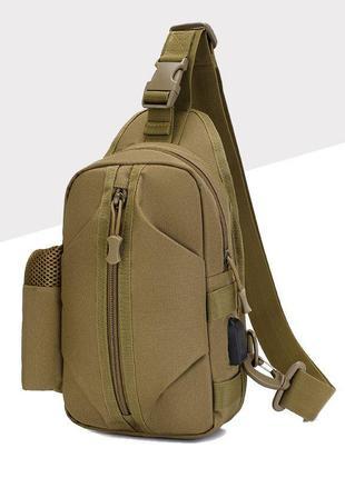 Удобная тактическая сумка-рюкзак, бананка на одной лямке + usb...