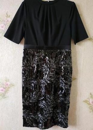 Розкошное вечернее нарядное платье миди футляр юбка в пайетках...