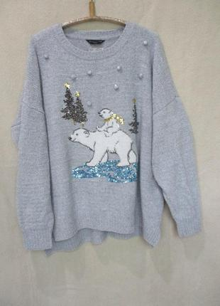 Шикарный свитер с мишками/новогодний/с пайетками/батал uk 22/н...