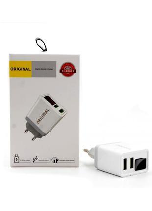 Сетевой адаптер 220v 2 USB 2.1А LED цифровым дисплеем CX QC03