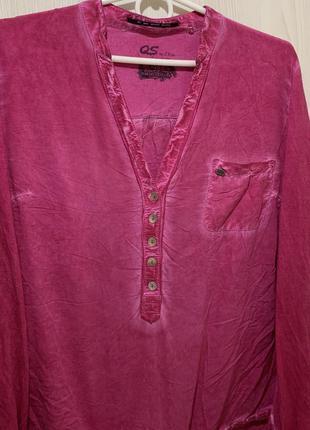 Розовая хлопковая рубашка блуза натуральная ткань размер м s.o...