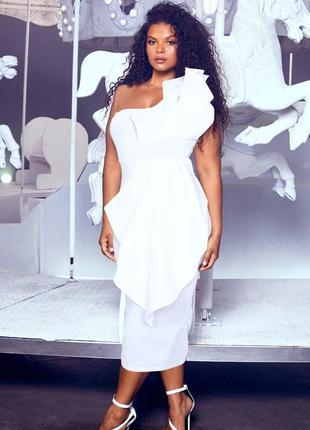 Белое миди платье 🔥 вечернее платье prettylittlething 🔥