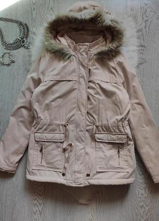 Розовая светлая бежевая зимняя куртка парка с мехом и на меху ...