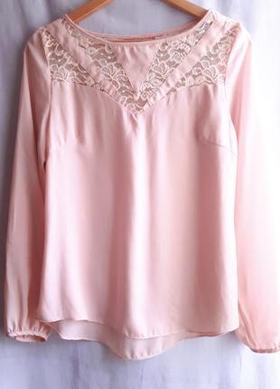 Красивая пудровая блузочка с кружевом раз. l