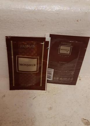 Сашет мужской парфюмированной воды monsieur farmasi