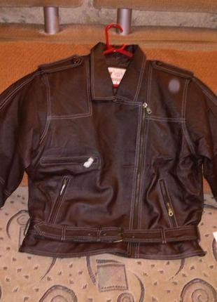 Новая,с бирками,кожаная,коричневая,мягкая,укороченная куртка-к...