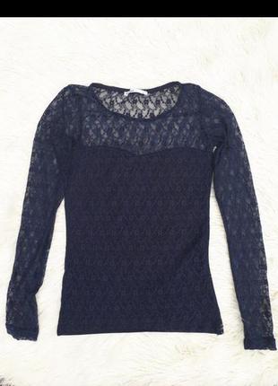 Синяя кружевная блузка с рукавами раз.s