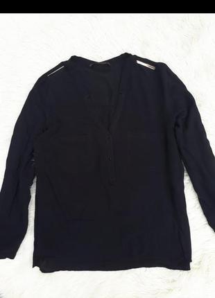Черная вискозная рубашка zara раз.м