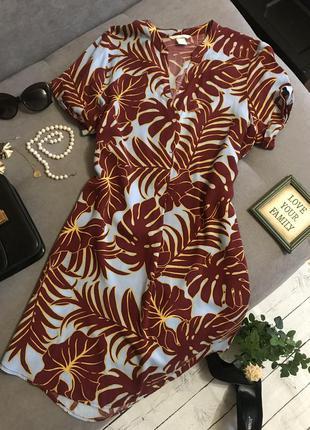 Платье в тропический принт h&m р.10