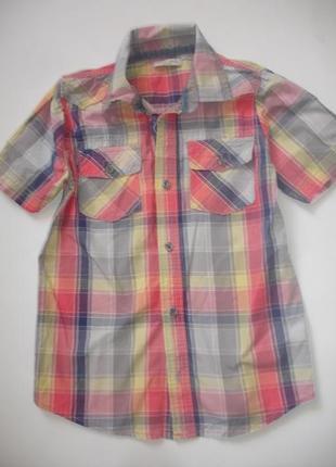 Фирменная m&s яркая стильная рубашка мальчику 9-10 лет