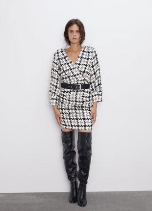 Zara стильное платье принт гусиная лапка, платье миди, праздни...