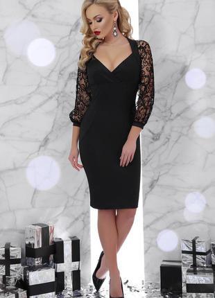 Элегантное платье с ажурными рукавами * отличное качество